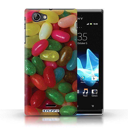 Kobalt® Imprimé Etui / Coque pour Sony Xperia J (ST26i) / Smarties conception / Série Bonbons Jelly Beans