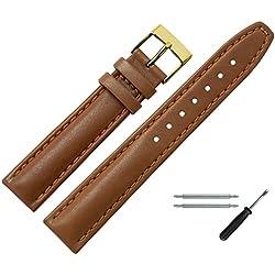 Uhrenarmband 18mm Leder braun mit Naht, Bombage - Inkl. Federstege & Werkzeug - Lederarmband für Uhren mit einfacher Naht - dezent bombiertes Uhren Ersatzband - hellbraun / gold