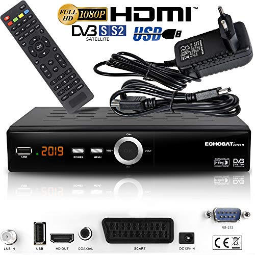 Echosat 20900 - Ricevitore satellitare digitale (HDTV, DVB-S/S2, HDMI, SCART, 2X USB 2.0, Full HD 1080p), preprogrammato per Astra Hotbird