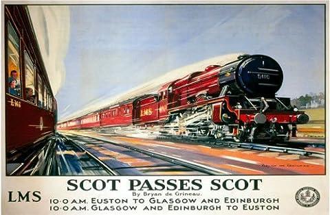 Scot Passes Scot. Flying Scotsman Train. Red. London to Edinburgh. Euston. London. Old retro vintage advert in design. British rail. LMS. Locomotion. Steam rail. Train. Medium Metal/Steel Wall