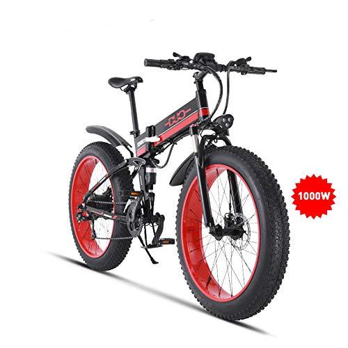 GUNAI Bicicleta de Montaña Eléctrica 26 Pulgadas E-Bike Sistema de Transmisión de 21 Velocidades con Linterna con Batería de Litio Desmontable 1000W 48V Bikes Bicicleta Electrica