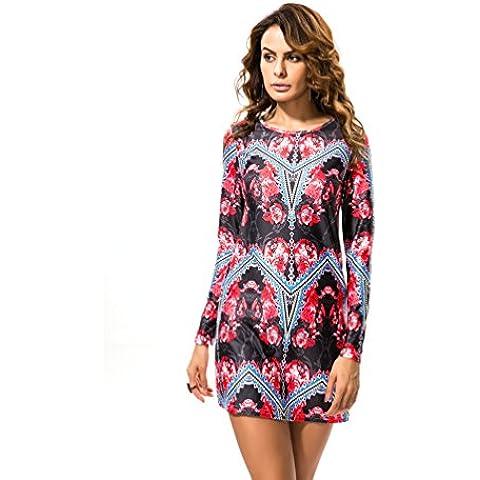 YOKIRIN Vestito Donna Dress Maniche Lunghe Retro Stampa Floreale Vestito Di (Merletto Della Stampa Jeans)