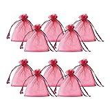 Pandahall 100PCS Sacchetti Organza Sacchetti Regalo Saccgetti Portaconfetti Borse Gioielli, Colore Rosso Scuro, 10x12cm