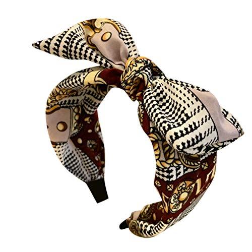 kolila Billig Stirnband Haarspange Ausverkauf Damen Cute Bow Knot Stirnbänder Zubehör Breite Seite Haarband Damen Mädchen(Rot)