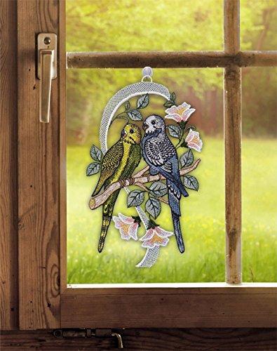 Fensterbild Wellensittiche 18,5 x 32 cm (BxH) Plauener Spitze inkl. Saughaken Fensterdeko