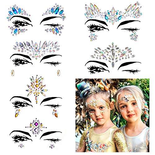 6Pcs Carnaval Pegatina Facial Cristales Adhesivo Tatuaje