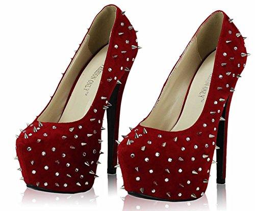 Günstige Schuhe Bestellenz-Frauen-Schuhe Diamante Sandalen Stud Partei Plattform-Stilett-Größe 3-8 Stil 1 - Rot