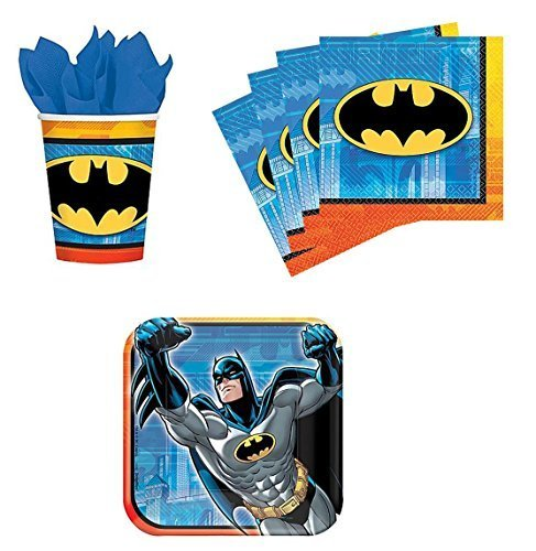 Batman Birthday Party Supplies Set Plates Napkins Cups Kit for 16 by DesignWare