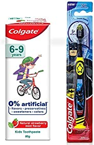 Colgate Toothpaste for Kids (6-9 years), Natural Strawberry Mint Flavour, 0% Artificial- 80g with Colgate Batm