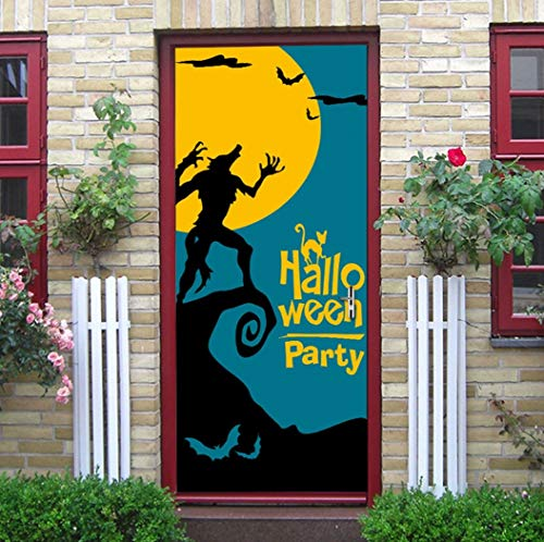 3D Tür Aufkleber Halloween Der Mond In Einen Werwolf Verwandelt Wandmalerei Kunst Selbstklebende Klappe Aufkleber Abnehmbare Türen Aufklebern Von Qt XINGMU