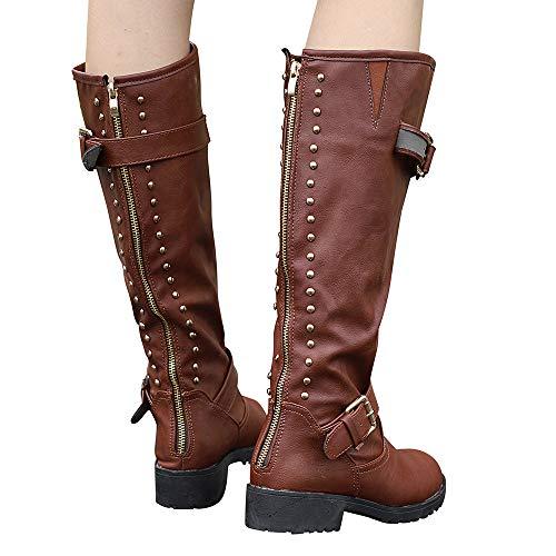 MYMYG Damen Schuhe Rivet Roman Ankle Booties Reiten Kniehohe Cowboy Stiefel Lange Stiefel Schnürstiefel mit Blockabsatz Profilsohle