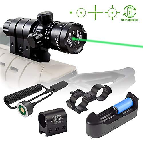 Viiko Viseur Laser Vert Militaire Pointeur Puissant pour Pistolet avec Interrupteur de Pression avec Monture Picatinny Weaver Monture en tonneau