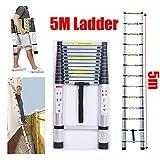 5 m Teleskopleiter, Aluminium-Leiter, Kompakte Dachbodenleiter, für drinnen und draußen, selbstgemachte Arbeiten, Sicherheitsverriegelung, 150 kg maximale Belastung