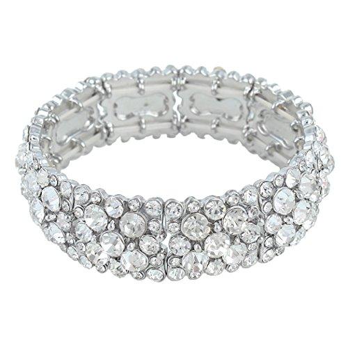 Flyonce Frauen Runde Österreichische Kristall Elegante Braut Stretch-Armband Klar Silber-Ton