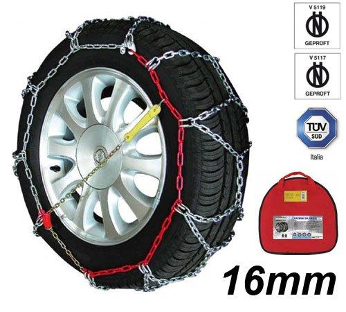 Melchioni 380008146 catene da neve omologate cf1646 16 mm 4 x 4 per furgone suv e camper, certificate tuv, set di 2