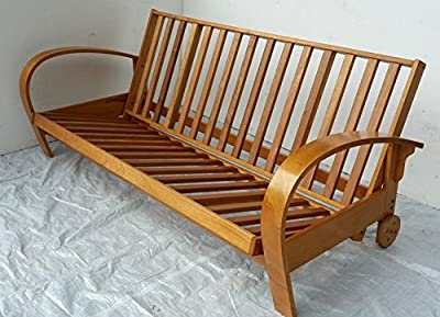 3 Seater All Wood Futon Sofabed Frame Only.Bed Settee Sofa Bed.Wooden Frame