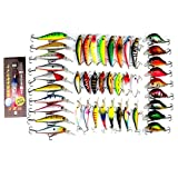 Isafish Minnow Leurre de pêche Ensemble Crankbait Tackle Lot de 43 pcs assortis kit Leurres de pêche basse