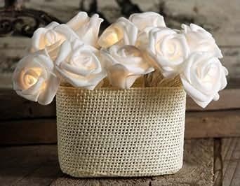 """Lerway 86.6"""" 2.2M Rosa Fata Fiore Flessibile 20 LED luci della stringa per Giardini, Prato, Patio, alberi di Natale, matrimoni, feste, bar, club, piscina coperta e la decorazione esterna (bianco)"""