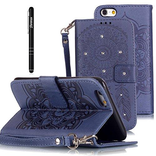 Slynmax Glitzer Briefcase Leder Tasche Schutzhülle für iPhone 6 6s 4,7