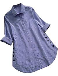 ☀ ☀️PANPANYshirt Mujer PANY Talla Largo Manga Larga Tops Blusa sólida Camisa Blusa Pullover Camisetas y Tops Ropa Deportiva para Mujer…