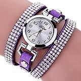 LSAltd Damen Art und Weisediamant-Verpackung Um Uhr Lederoid Quarz Armbanduhr (Lila 2)