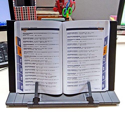 Gosear - Soporte para libros de Lectura Portatil, Sobremesa Ajustable Plegable Escritorio para Libro Documento Soporte Atril, Negro