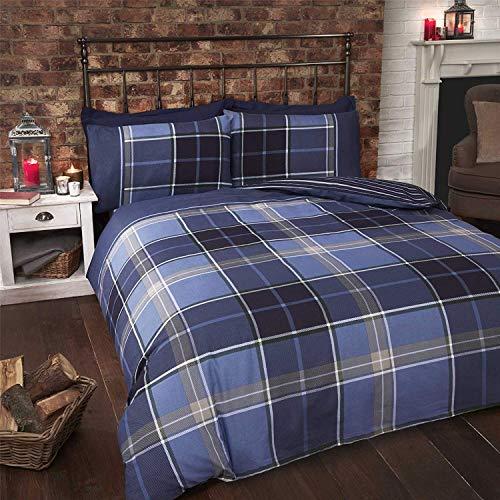 Tartan Kariert Gestreift Blau Grün Weiß Baumwollmischung Einzelbett Bettbezug