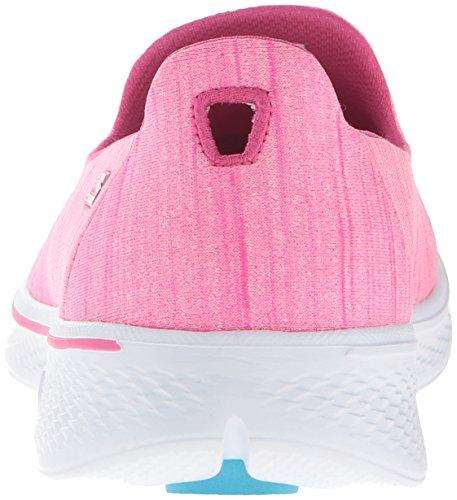 Skechers Go Walk 4-Satisfy, Scarpe Running Donna Rosa (Hot Pink)