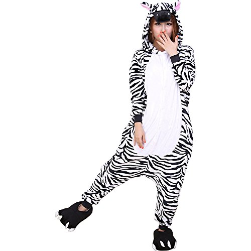 ABYED® Jumpsuit Tier Karton Fasching Halloween Kostüm Sleepsuit Cosplay Fleece-Overall Pyjama Schlafanzug Erwachsene Unisex Lounge,Erwachsene Größe S - für Höhe 150-158cm (Kostüme Zebra)
