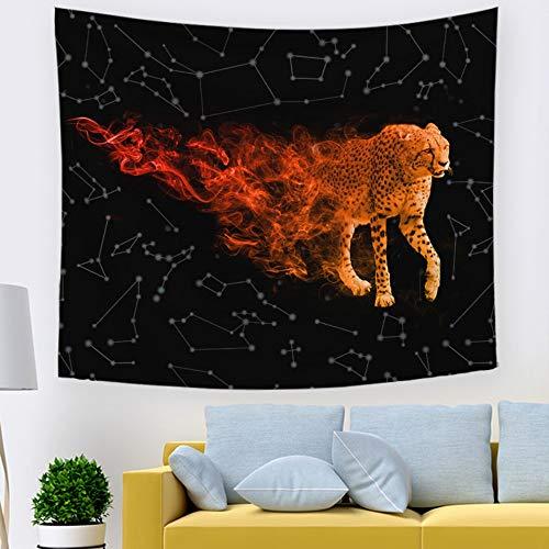 XIAOBAOZIGT Tapestry Wall Hanging,Sternenhimmel Rot Cheetah Psychedelic 3D Digital Gedruckte Kunst Tapisserie Hippie Hängenden Tuch Wohnkultur Für Schlafzimmer Wohnzimmer Strand Kissen 150 × 130 cm