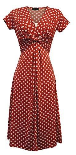 farblich abgesetzter Rand, Punktemuster WW2 1940s Land girl, 50er Jahre Pin up Tee Dress, Rot, UK 20 (50er Jahre Pin Up Girls)