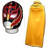 Maschera nera da lottatore di wrestling messicano,luchador figlio del demonio,con mantello oro,per adulti