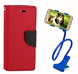 Aart Fancy Diary Card Wallet Flip Case Back Cover For Samsung Note 3 - (Red) + 360 Rotating Bed Tablet Moblie Phone Holder Universal Car Holder Stand Lazy Bed Desktop for by Aart store.