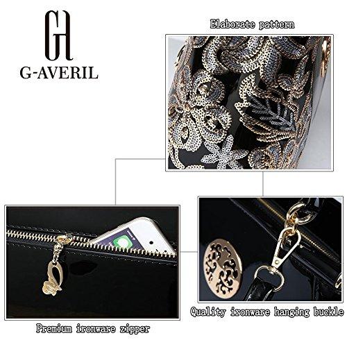 (G-AVERIL) Borsa 4Colour Bauletto da Donna Elegante con Manici e Tracolla in pelle Oro