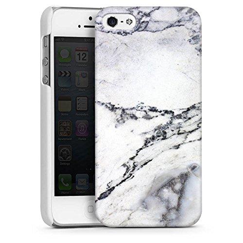 Apple iPhone 5 Housse Étui Silicone Coque Protection Pierre Marbre Motif Marble Look CasDur blanc