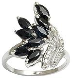 Banithani 925 Pure Silver Designer Black Ring Onyx Pierre Party Femmes Mode Band Bijoux