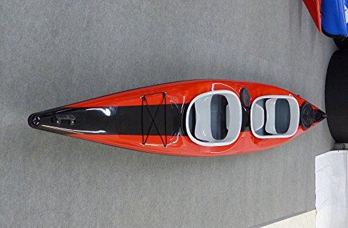 Zweierkajak 499 Trio mit Kindersitz kippstabil Einsteigerkajak Dreierkajak , Farbe:Rot-Schwarz-Rot;Ausstattung:mit Fußrasten und Ruder