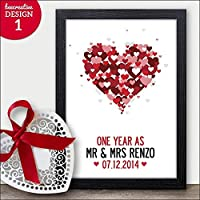1st Wedding Anniversary Gift Print - Present for PAPER Anniversary - 1 Year As Couples Surname and Date Personalised with Couples Details - A5, A4, A3 Size as Print Only or as Black/White Framed Print