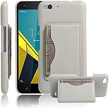 Vodafone Smart Ultra 6Funda, hualubro [función atril] [todo alrededor de protección] teléfono Premium funda de piel sintética funda protectora con soporte titular de la tarjeta para Vodafone Smart Ultra 6Smartphone, Flip White