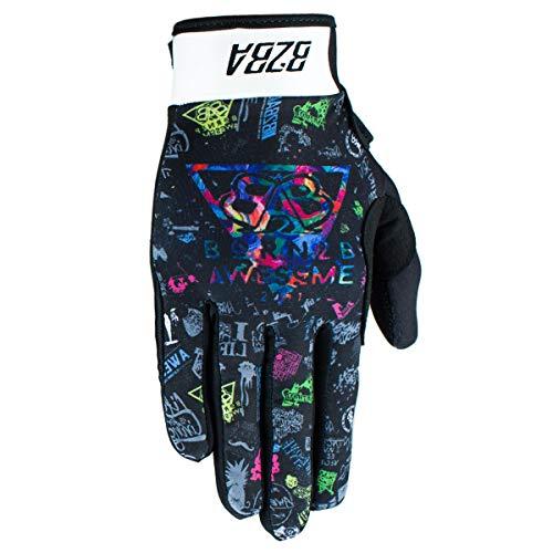 B2BA Clothing RACEWEAR leichte Handschuhe Mountain Bike Downhill Enduro Motocross Freeride DH MX MTB BMX Quad Cross, schnelltrocknend, rutschfest und atmungsaktiv, Farbe Schwarz Multicolor, Größe L