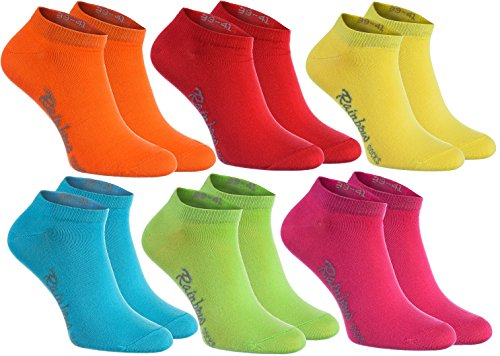 Rainbow Socks 6 pares de calcetines cortos en colores: naranja, rojo, amarillo, verde mar, verde, fucsia, algodón de alta calidad con Oeko-Tex certificado, tallas: 39 40 41