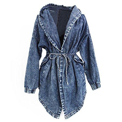 Très Chic Mailanda Donna Moda Elegante Giacca Jeans Con Cappuccio Cardigan Capispalla Trench Coat