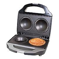 Unibos Black/Silver Electric Deep Fill Non Stick Double 2 Pie Maker Cooker Machine