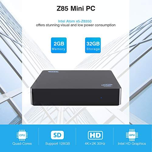 Z85 Mini PC Intel x5-Z8350 Multi Media Desktop 2GB+32GB 4K HD 1000Mbps BT4.0 Smart Mini PC Dual Display Dual WiFi 2.4G+5.8G Mini PC mit LED unterstützt Windows