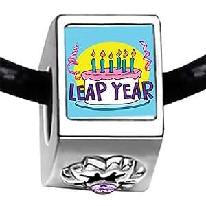 Gâteau d'anniversaire année bissextile photo cristal améthyste clair perle pierre porte-bonheur Juin Fleur Charme Bracelets