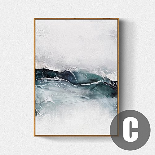 Paintsh Nordic Wohnzimmer Dekoration Malerei Kurze modernen abstrakten Malerei Schwarz und Weiß Schlafzimmer Bett Sofa Hintergrund Wandbilder, 38*58, weißen Rahmen, C Abschnitt 4,
