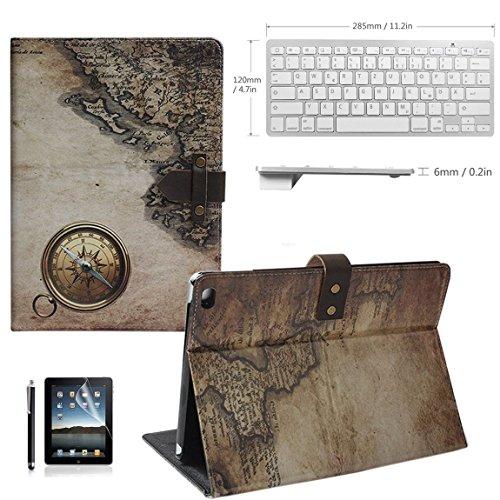 Preisvergleich Produktbild BORIYUAN Apple Ipad Air 2 Bluetooth Tastatur (Deutsch Layout) mit PU Leder Hülle Tasche Smart Case im Retrolook (Ipad Air 2 HD Displayschutzfolie und Stylus inklusive) (A12)