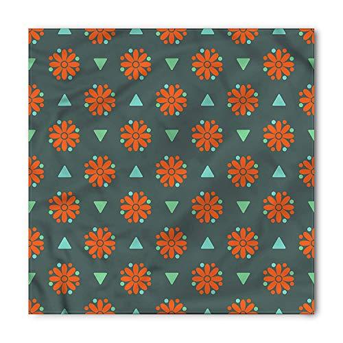 Orange Flower Bandana, Daisies Triangles, Unisex Head and Neck Tie, Printed Unisex Bandana Head and Neck Tie Scarf Headband, Multicolor S 60x60cm Maxi Daisy