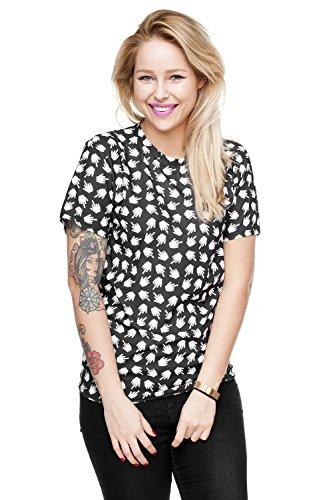 Damen T-shirt Oversize Blogger Style Festival Top Sommer Shirt Mädchen Fullprint Onesize PIXEL FUCK