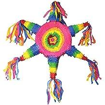 erdbeerparty–Piñata arco iris Cilindro de fiesta de cumpleaños infantil Decoración Piñata relleno, 65cm, multicolor